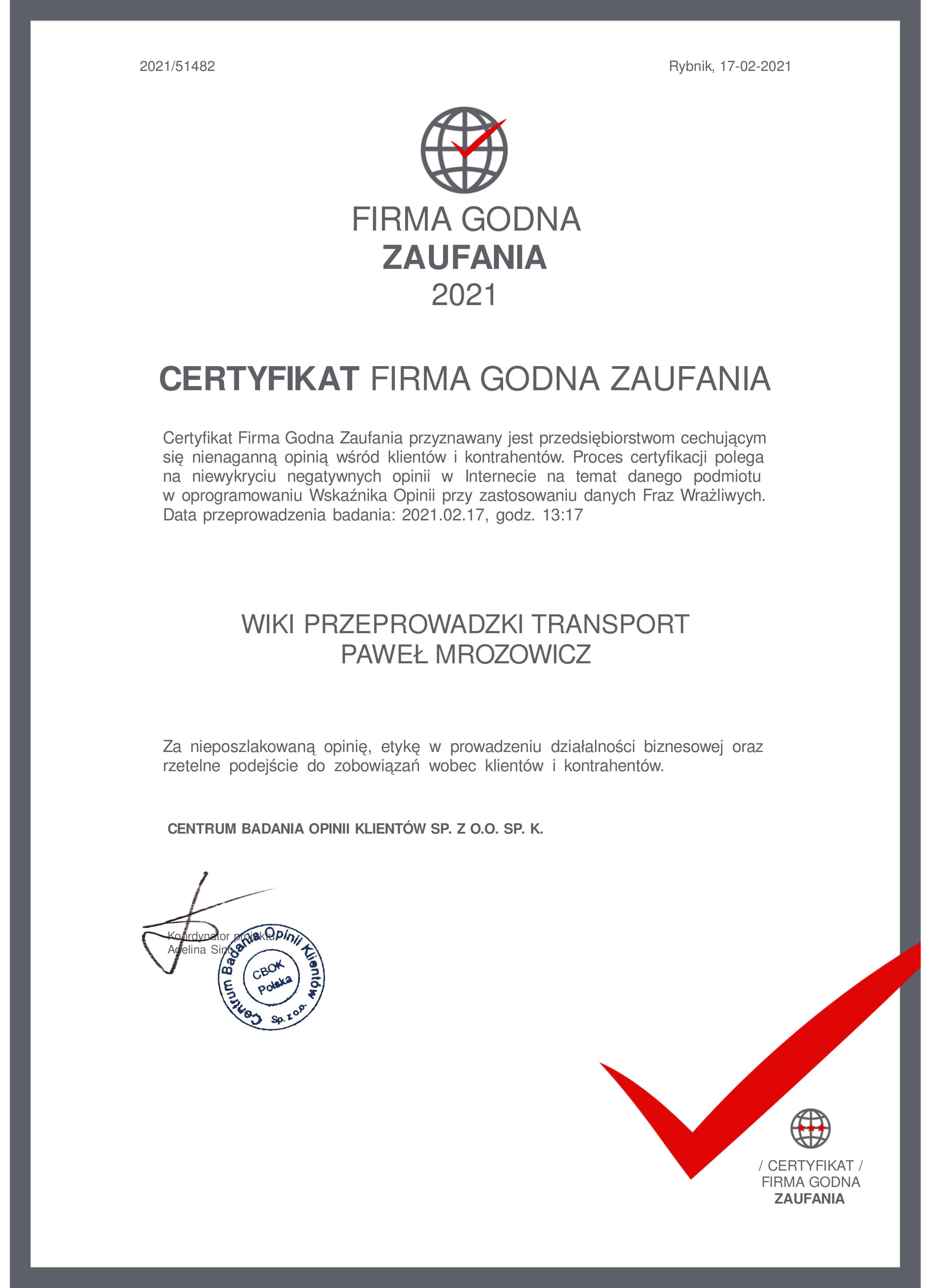 Firma przeprowadzkowa WIKI - certyfikat godności zaufania